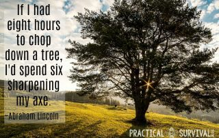 If I had eight hours to chop down a tree, I'd spend six sharpening my axe. Abraham Lincoln
