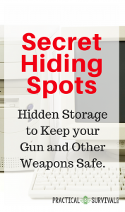 """Secret Hiding Spots for your guns and weapons. Here are some great ideas of secret hiding spots to keep your weapons safe. I like the ideas to keep them safe even if they are suppose to be """"collected"""". #hiddenstorage"""