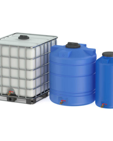 various water storage containers.